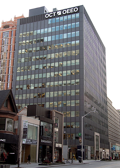 the exterior of the Ontario College of Teachers building at 101 Bloor Street West in Toronto